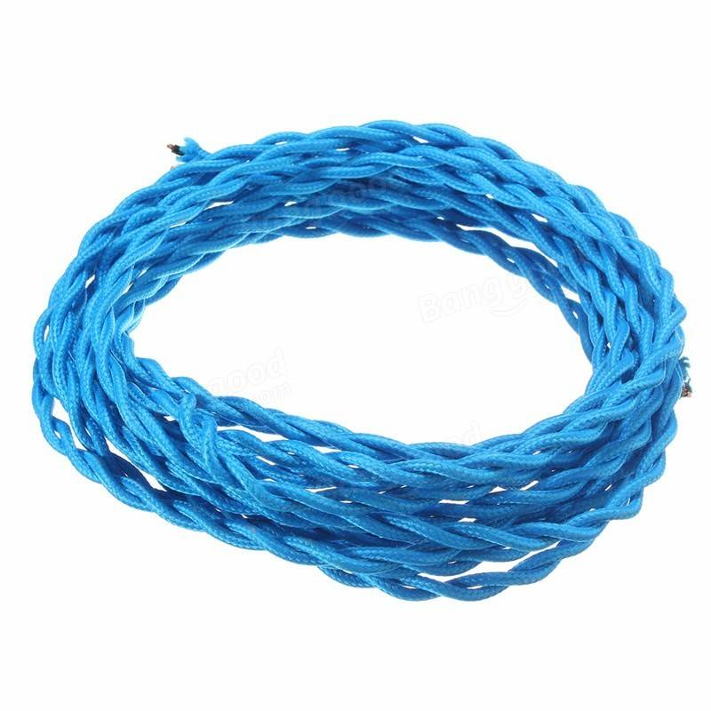 10M Vintage 2 Core Twist Braided Fabric Cable Wire Electric Lighting ...