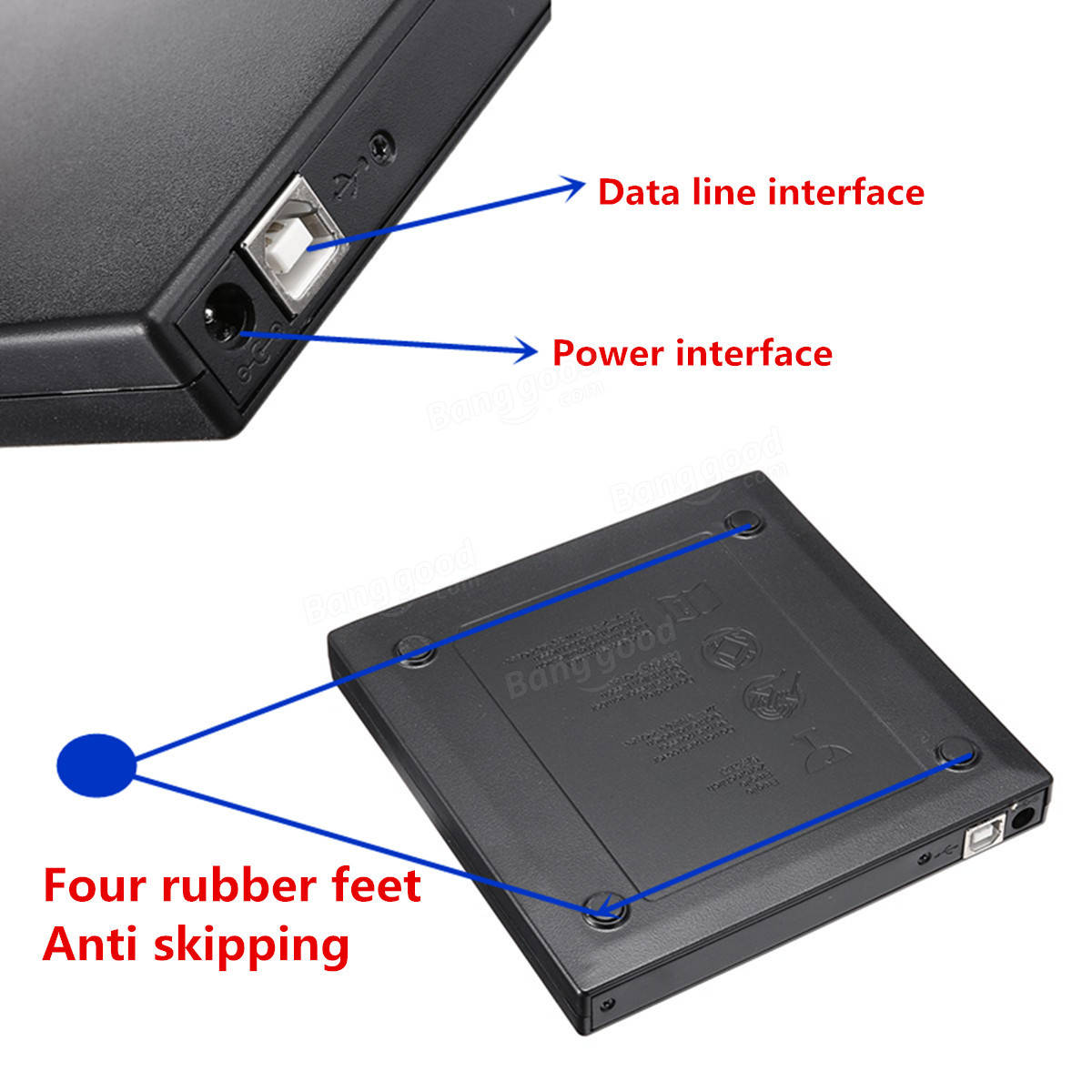 USB 2.0 External CD Burner CD/DVD Player Optical Drive for PC Laptop Windows