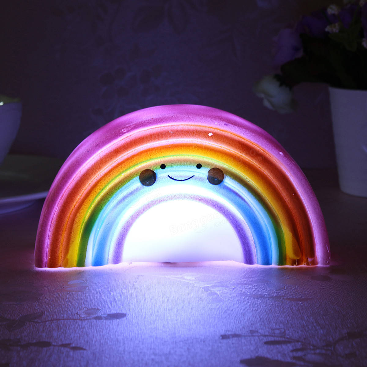 Marvelous Rainbow Shape Children Kid Baby Cute LED Night Light Table Lamp For  Bathroom Home Decor
