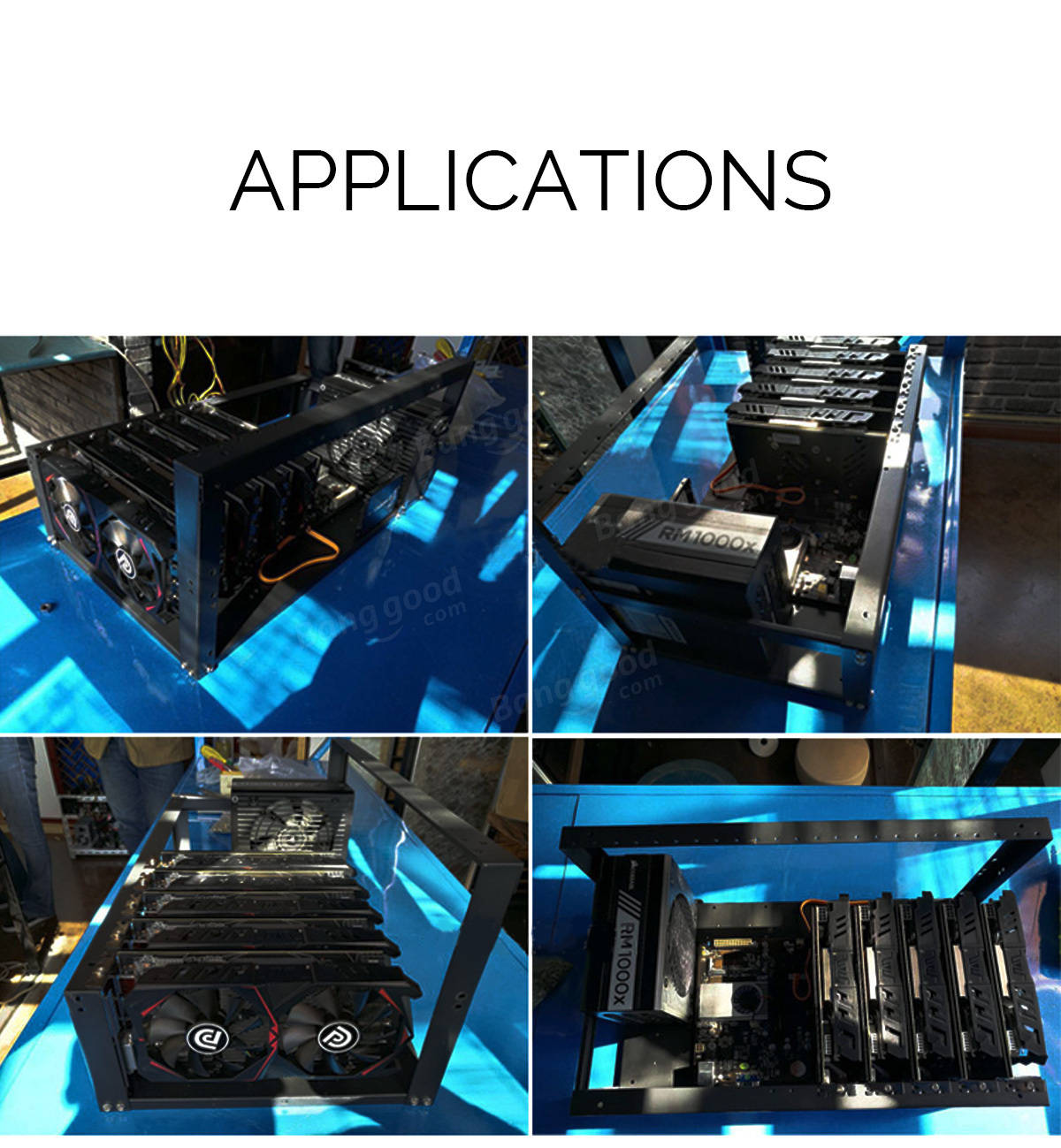 6 GPU Open Air Frame Mining Rig Aluminum Stackable Case Mining Machine Frame With 4 Fans
