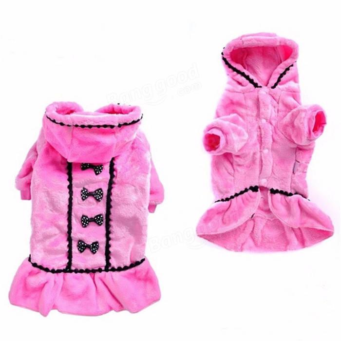 Pet Dog Cat Winter Clothes Apparel Coat Pink Black Warm Soft Fleece Puppy Coat Sweater