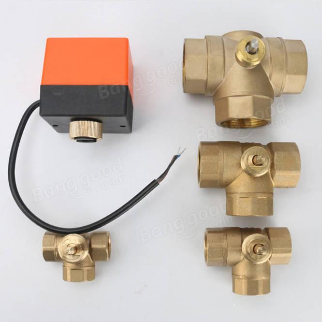 1/2 3/4 1 Motorized Electric Brass 3 Way Ball Valves Female 3 Wire AC 220V Full Port T Type Valve
