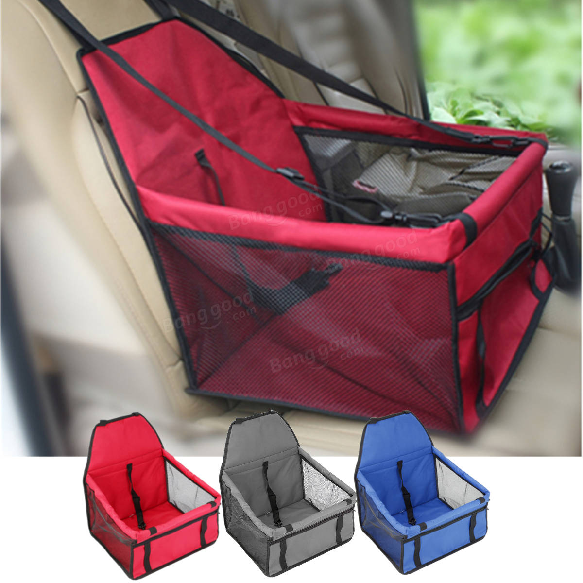 Car Seat Carrier For Cats and Dogs Pets Lookout Carrier Zipper Storage Pocket Portable Carrier Bag
