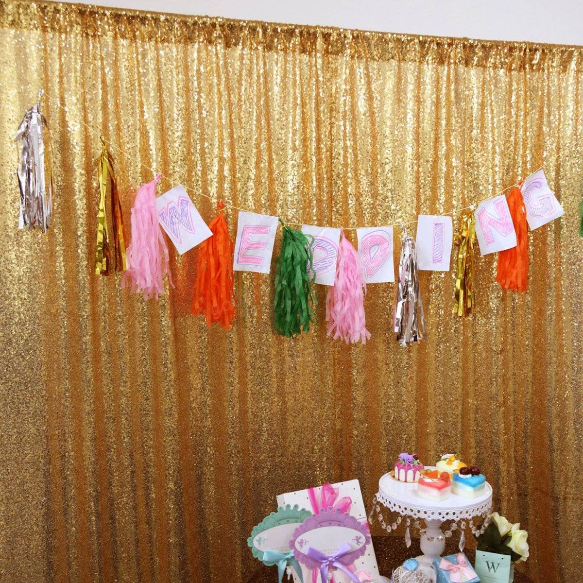 2 panels 2ftx6ft sparkly gold sequin curtain potography backdrop 2 panels 2ftx6ft sparkly gold sequin curtain potography backdrop wedding decoration props junglespirit Images