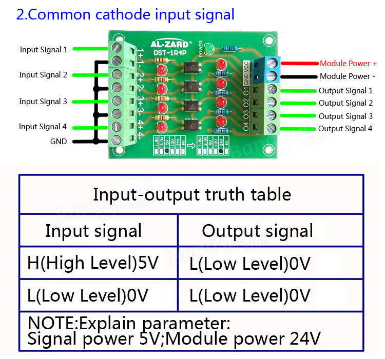 3Pcs 24V To 5V 4 Channel Optocoupler Isolation Board Isolated Module PLC Signal Level Voltage Converter Board 4Bit