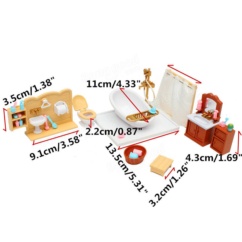 bb74de579df DIY Miniatures Bedroom Bathroom Furniture Sets For Sylvanian Family  Dollhouse Accessories Toys Gift Sc 1 St Banggood