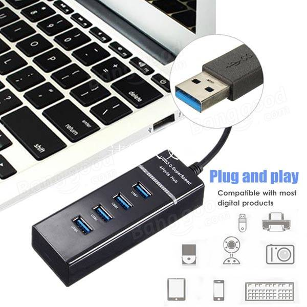 30CM 5Gbps High Speed USB 3.0 4-Port Adapter Hub With LED ...