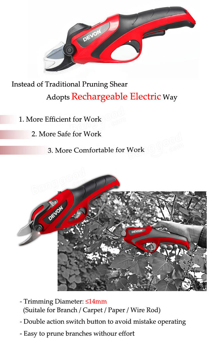 Devon 4v rechargeable electric pruning shear gardening orchard garden electric pruning shear fandeluxe Images