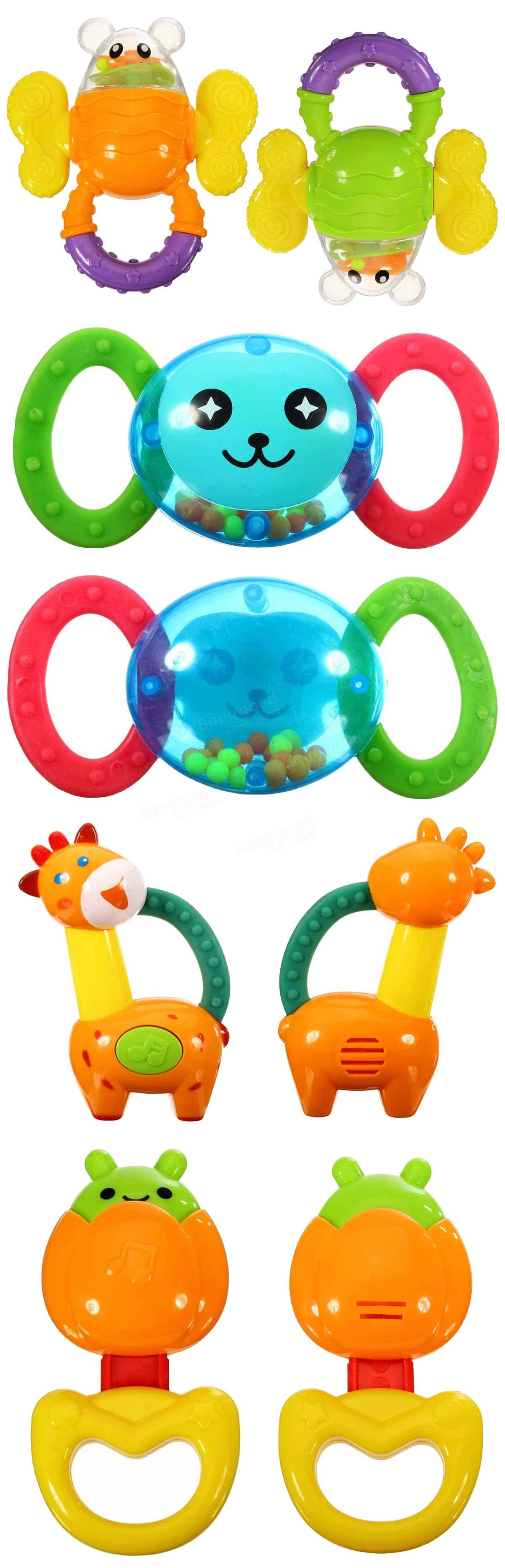 Plastic Baby Toddler Teether Chew Training Educational Development Animal Handbell Moral Toy Games