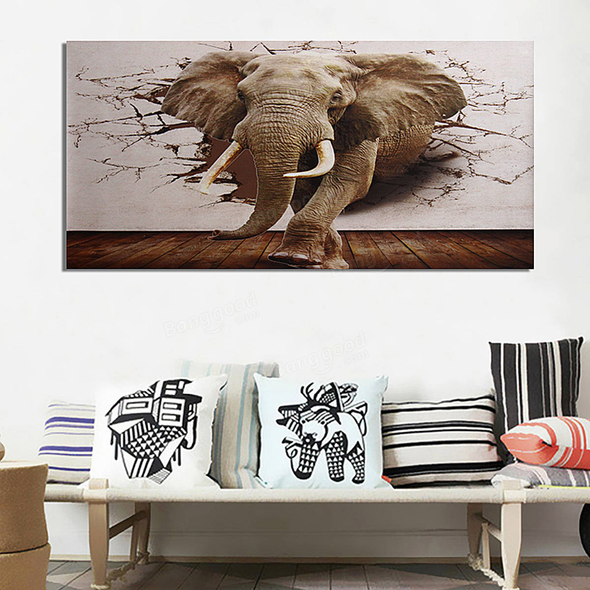 Ramie 3D Large Elephant Wall Paper Non Woven Roll Wall Murals Home Decorations