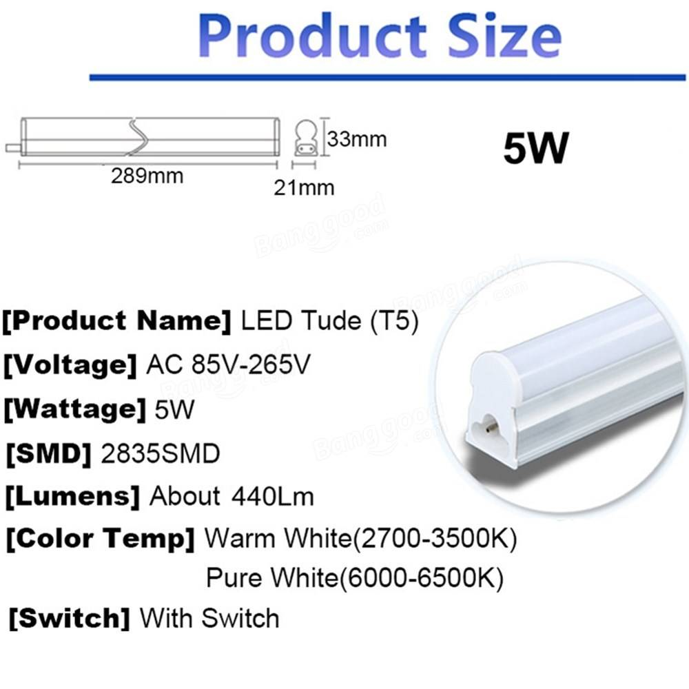30cm 5W 440LM SMD2835 T5 LED Fluorescent Tube Light with Switch Warm ... for T5 Tube Light Specification  17lplyp