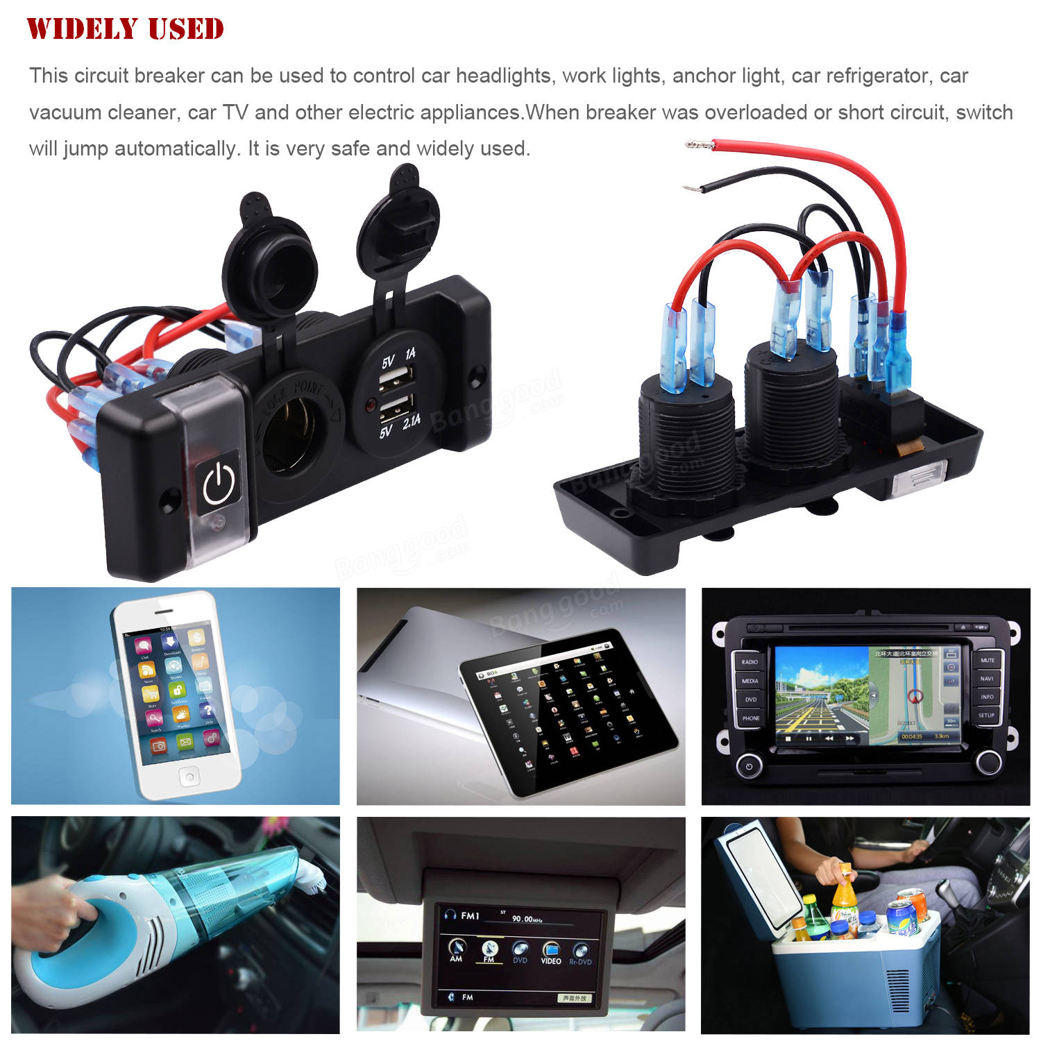 12v Led Rocker Switch Panel Circuit Breaker 3 Way Waterproof With For Car 31a Dual Usb Power