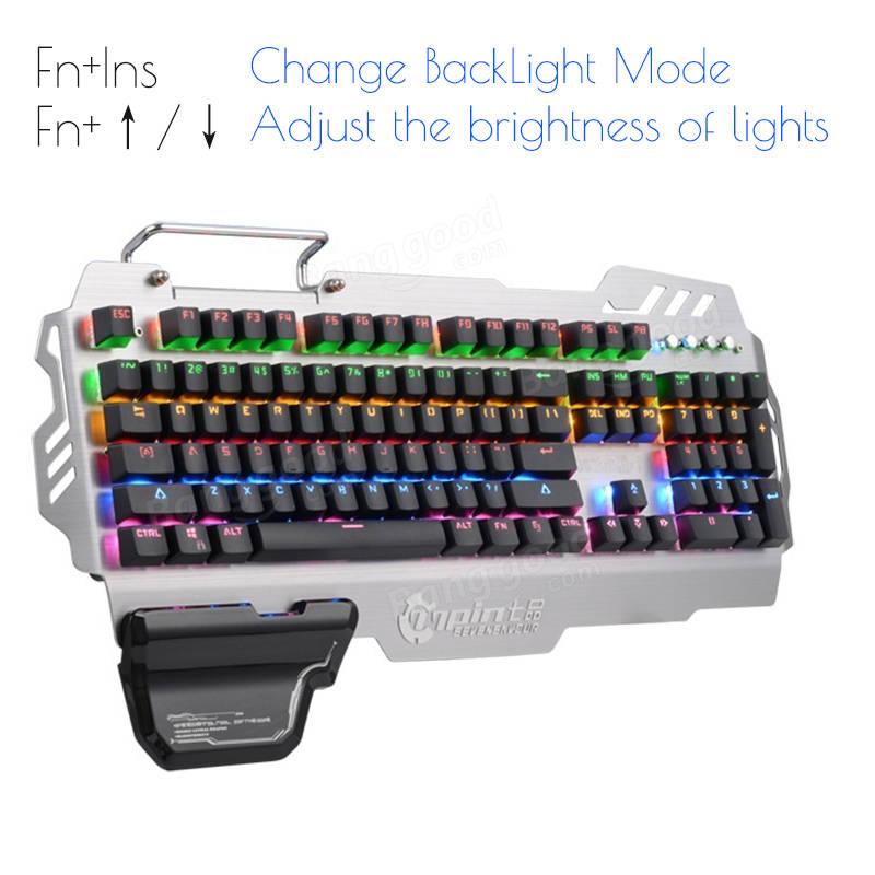 PK-900 104 Keys NKRO CIY Blue Switch Colorful Backlit Mechanical Gaming Keyboard