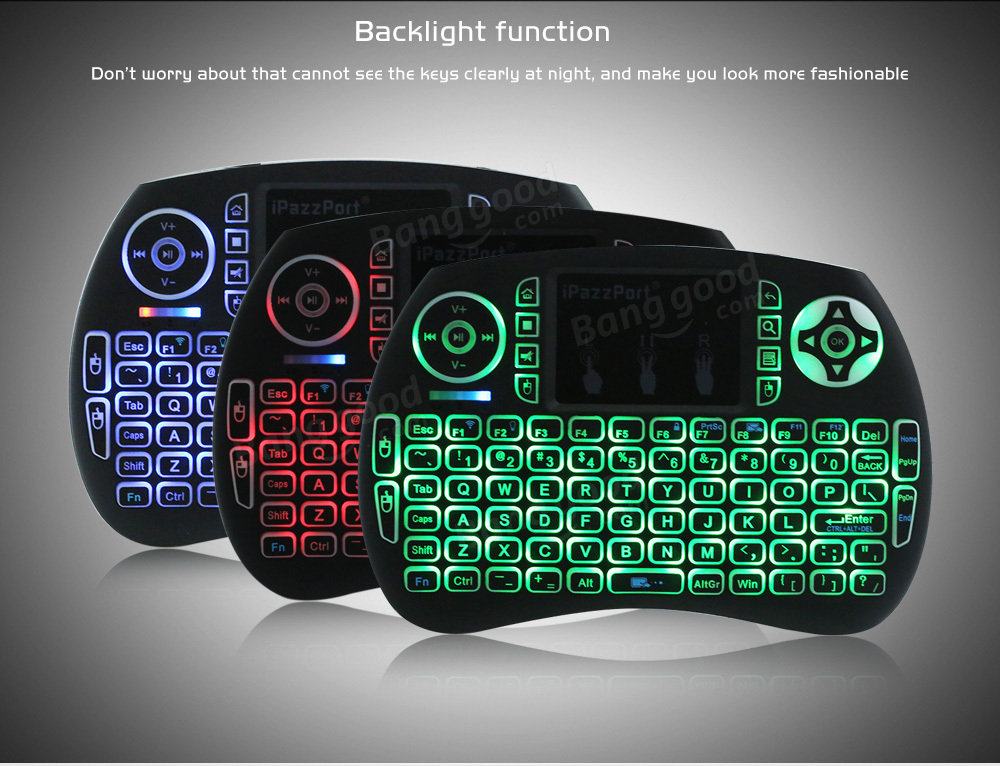 Ipazzport KP21SDL 2.4G Wireless Three Color Backlit Italian Version Mini Keyboard Touchpad Air Mouse