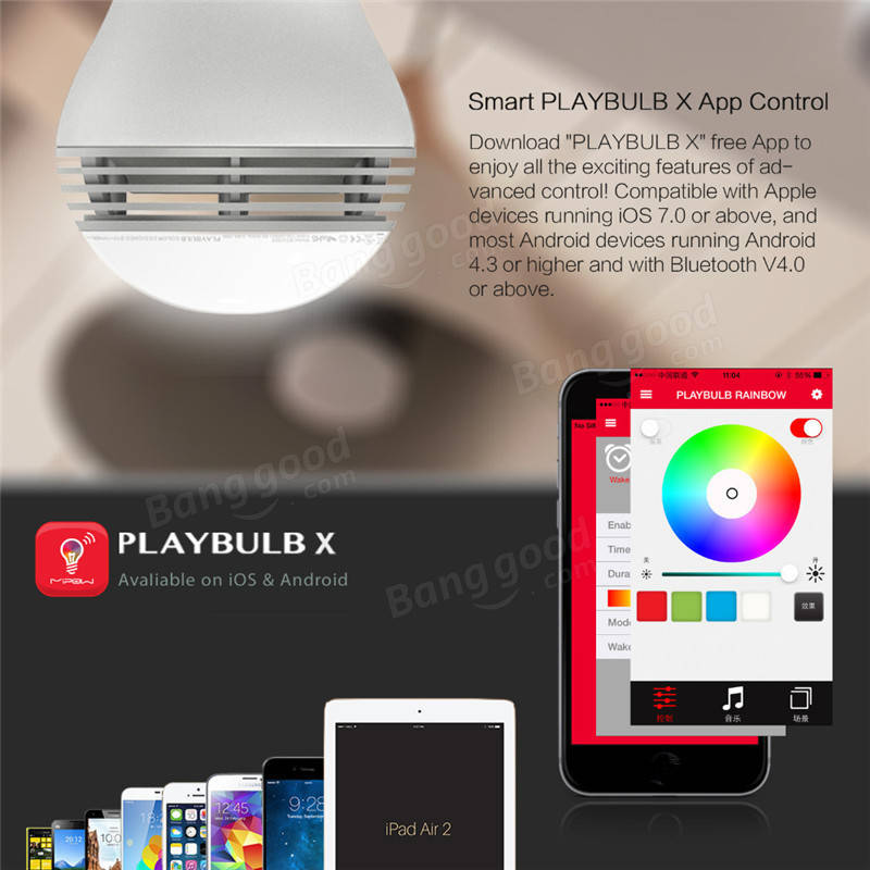 E27 Intelligent Dimmable Colorful LED Bluetooth Speaker Smart Light Bulb APP  Control