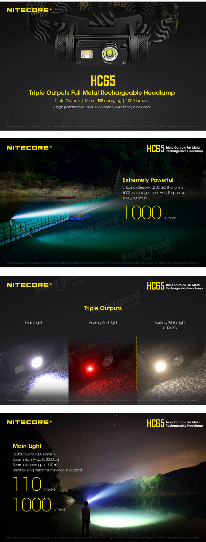 Nitecore HC65 XM-L2 U2 1000lumens Triple Output USB Rechargeable LED Headlamp +18650