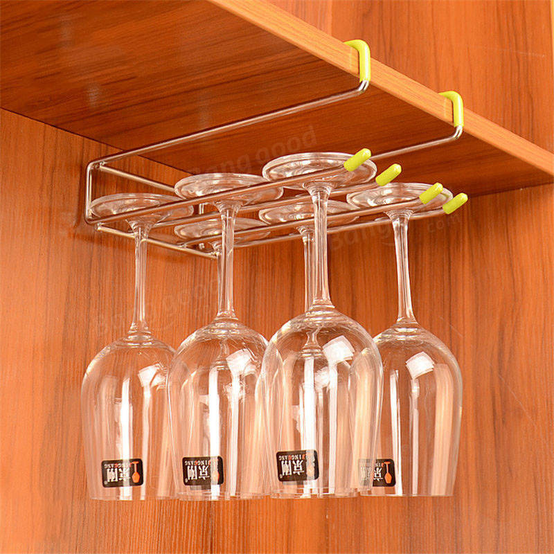 Stainless Steel Wine Glass Rack Hanger Bar Home Cup Glass Drinks Holder Bracket