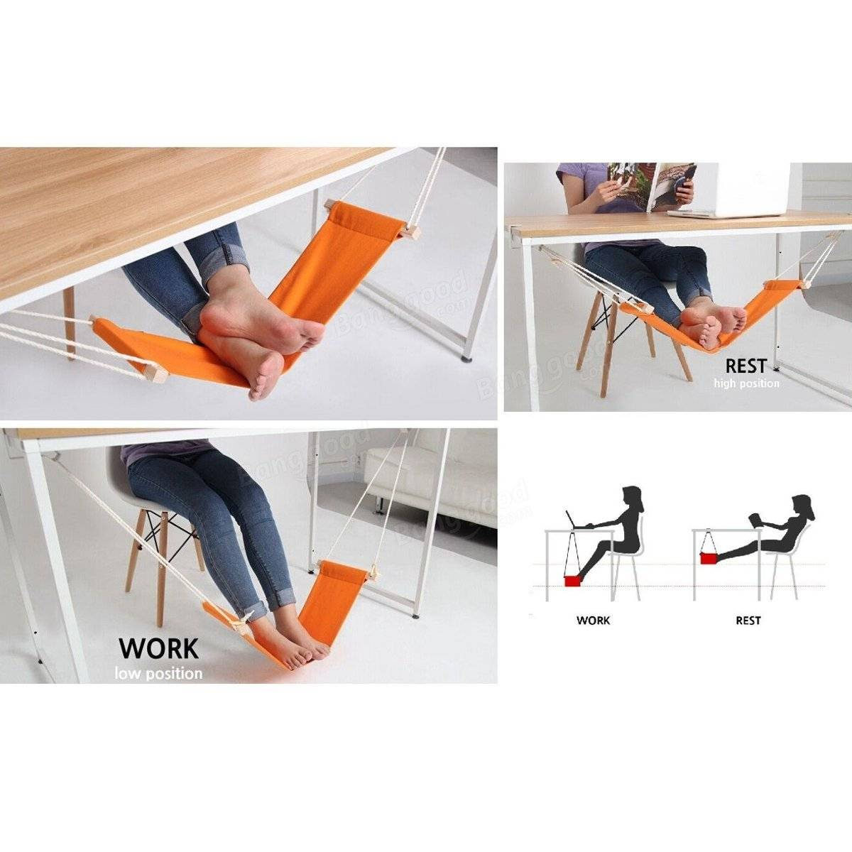 Portable Adjustable Mini Feet Comfort Rest Stand Desk Hammock Home Office Gift