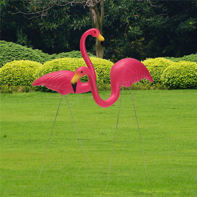 2pcs jouet de flamant rose plastique ornement d 39 art r tro pour d coration de cour jardin pelouse. Black Bedroom Furniture Sets. Home Design Ideas