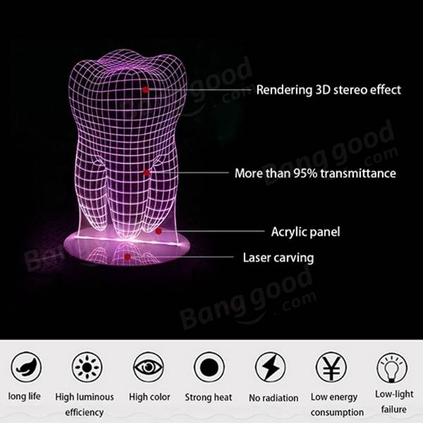 3W Touch Colorful Tooth 3D LED Night Light Acrylic Bedroom USB Table Lamp