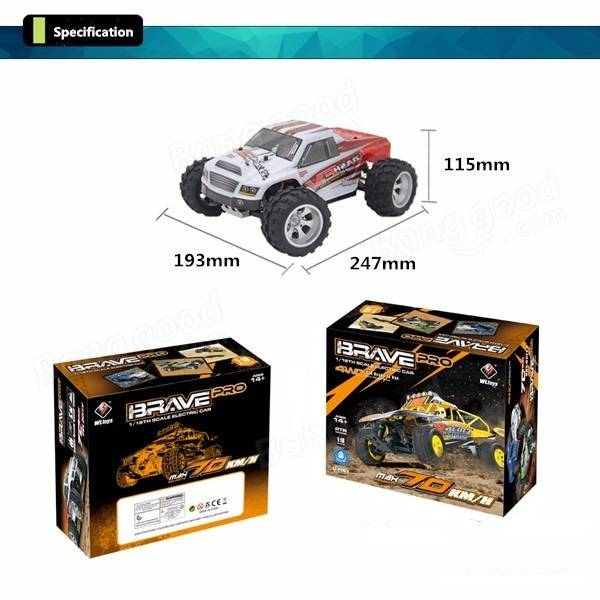 WLtoys A979B 4WD 1/18 Monster Truck RC Car 70km/h