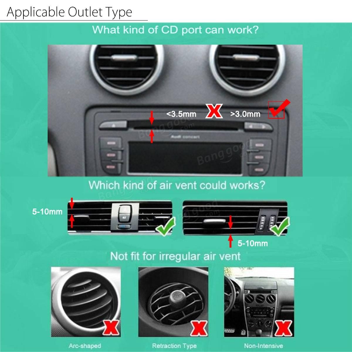 360 voiture d 39 air d 39 vacuation lecteur de cd slot support support pour t l phone mobile gps. Black Bedroom Furniture Sets. Home Design Ideas
