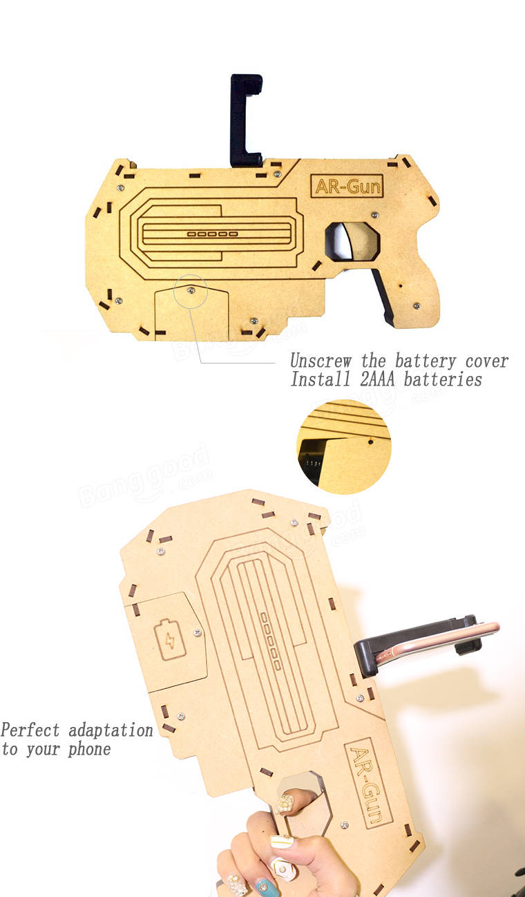 Wooden Bluetooth AR Augmented Reality Toy Game Gun For Smartphone ...