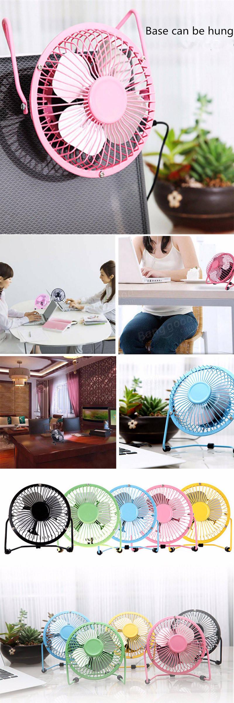 4 นิ้ว 360 องศาปรับโลหะสีดำมินิ USB ฤดูร้อน Cool Cooling Fan สีเลือกใช้สำหรับเดสก์ท็อป
