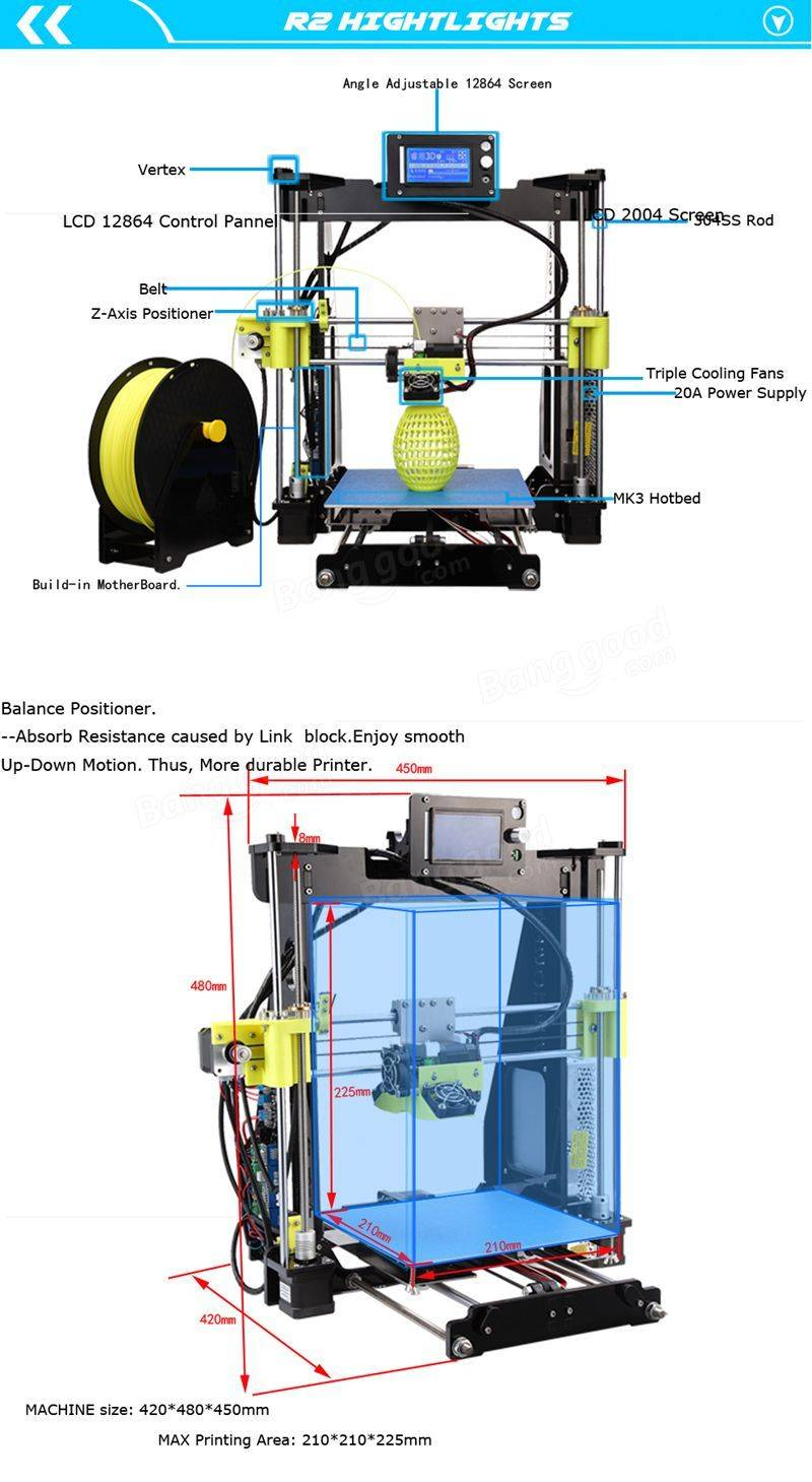 Raiscube r2 prusa i3 diy 3d printer 210 x 210 x 225mm printing size raiscube r2 prusa i3 diy 3d printer 210 x 210 x 225mm printing size with fandeluxe Images