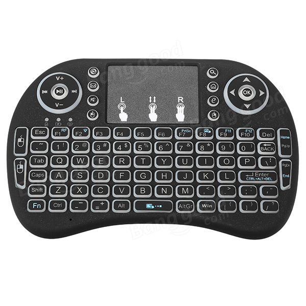 I8 2.4G Wireless Colorful Marquee Backlit Rechargeable Mini Keyboard Air Mouse Touchpad