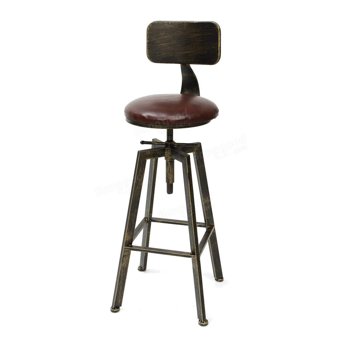 Vintage Retro Craft Pu Leather Bar Stool 360 Degree Rotate Counter Lift High Chair Decorations
