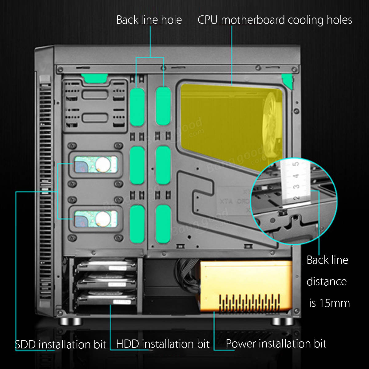 Side Transparent Black Gaming Computer ATX PC Case with 4PCS RGB ...