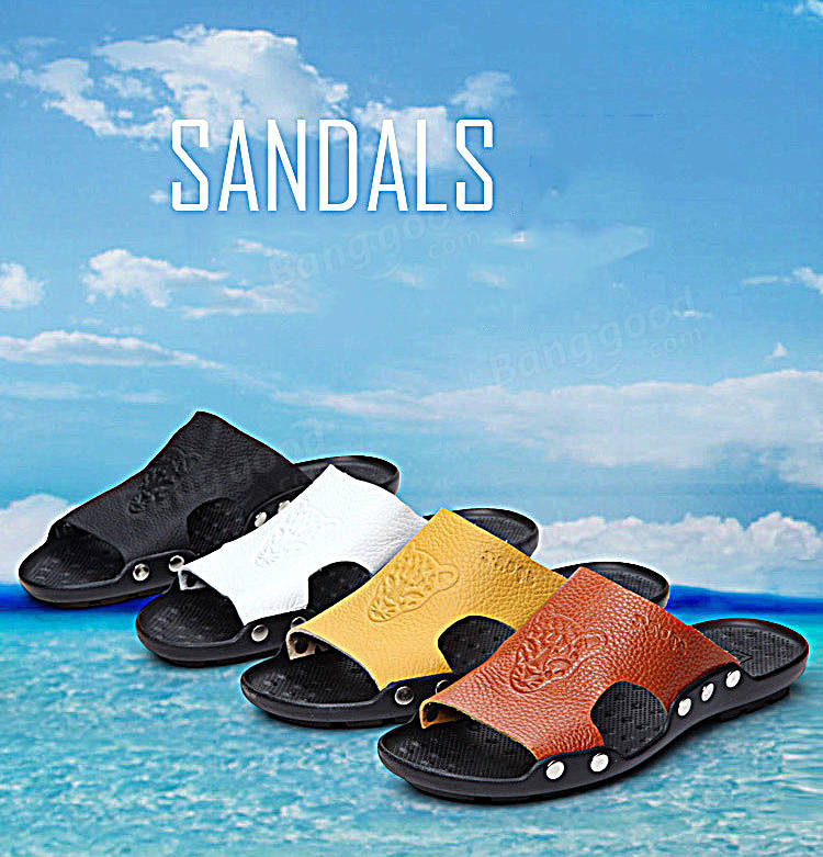 Men's Sandals Leather Stylish Tiger Pattern Beach shoes Special Sole Give You Massage feel
