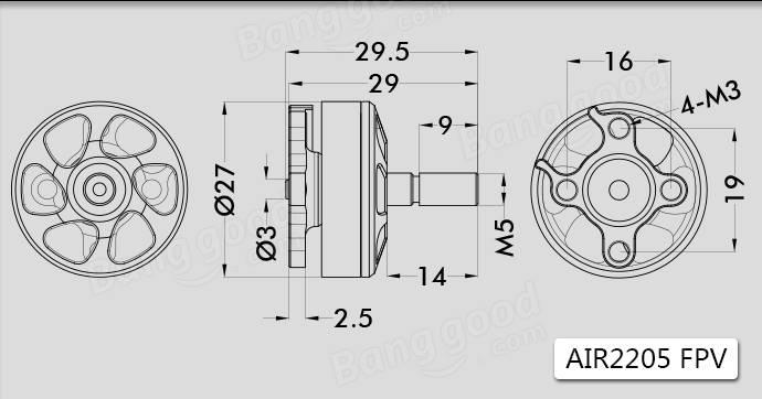 T-Motor AIR Gear 200 FPV Power Combo AIR 2205 2450KV / 2650KV Brushless Motor & 5045 Propeller