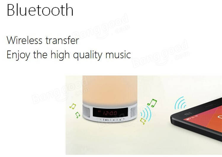 Table Lamp Wireless Bluetooth Speaker Music Sound Box with Alarm Clock Function Touch LED