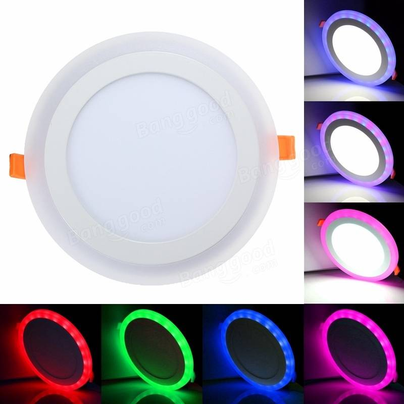 12w rgb dual color led recessed ceiling round panel down light 12w rgb dual color led recessed ceiling round panel down light lamp ac85 265v mozeypictures Images