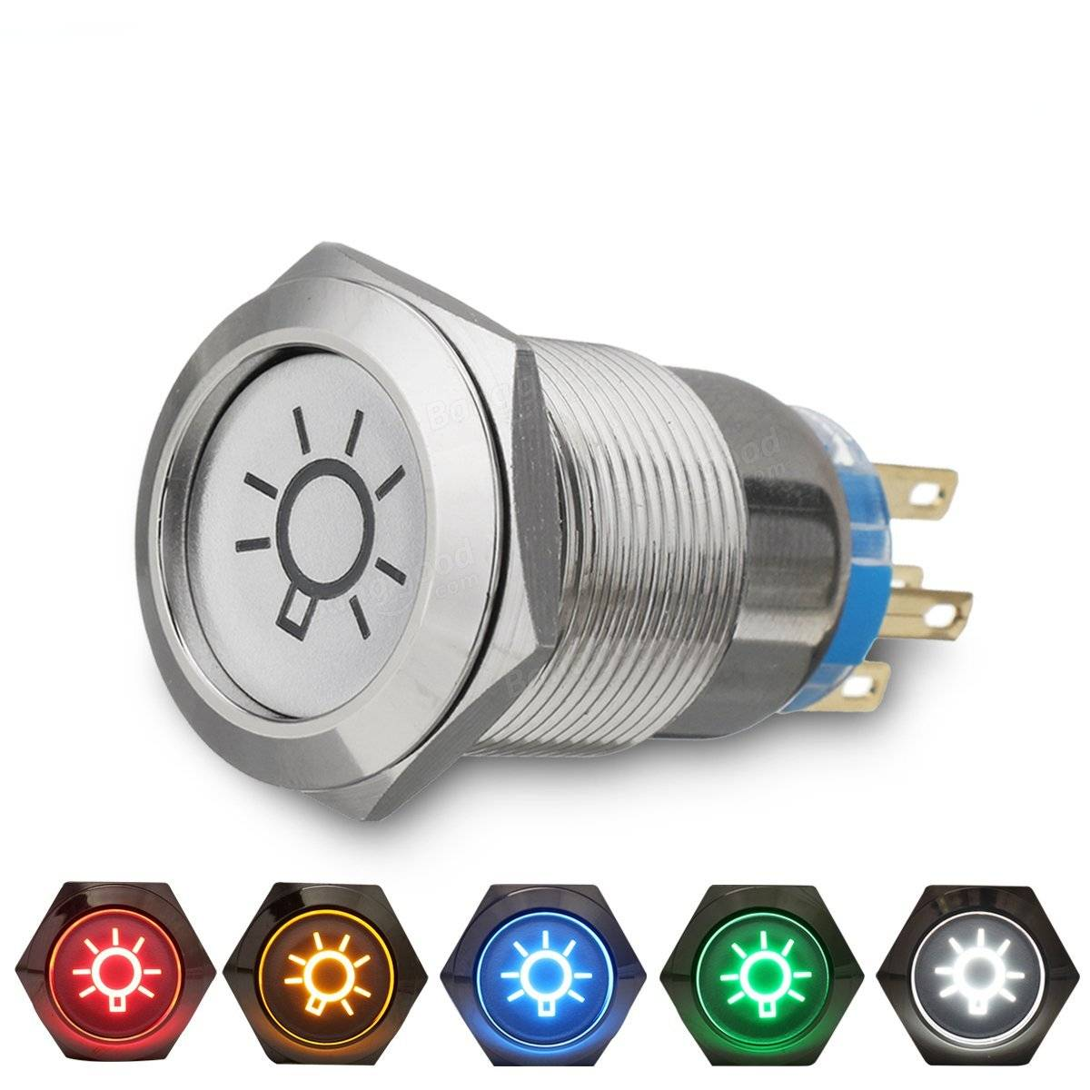 19mm 12V LED IP65 Push Button On Off Dome Light Switch Sale ...