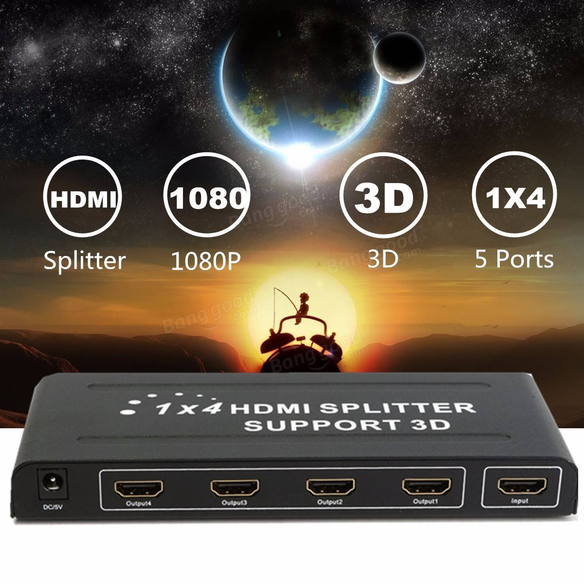 1080p 4 Way Hd Hub 1x4 Port Hdmi 3d Splitter Amplifier Switcher Box Switch For Hdtv Pc