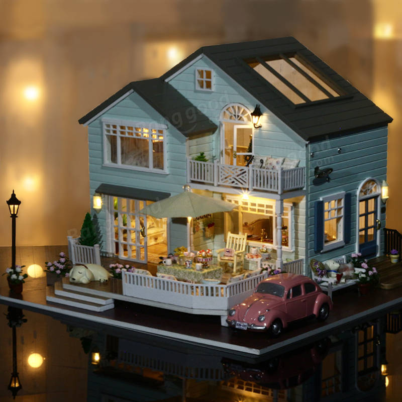 dollhouse lighting. CuteRoom A-035-A Queens Town DIY Dollhouse Miniature Model With Light Music Collection Lighting 0