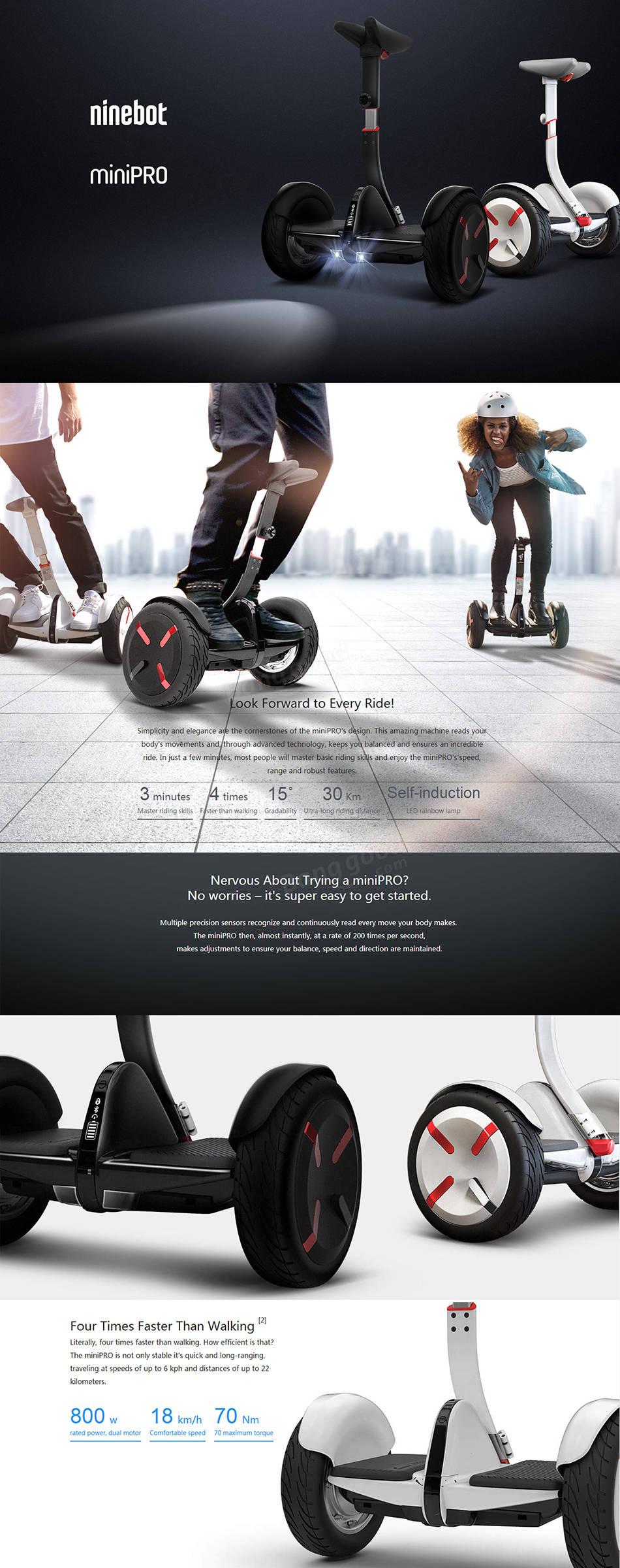 Ninebot Segway Mini Pro N3M320 International Version Smart Self Balancing Scooter with 400W x 2 18km/h Max. Speed