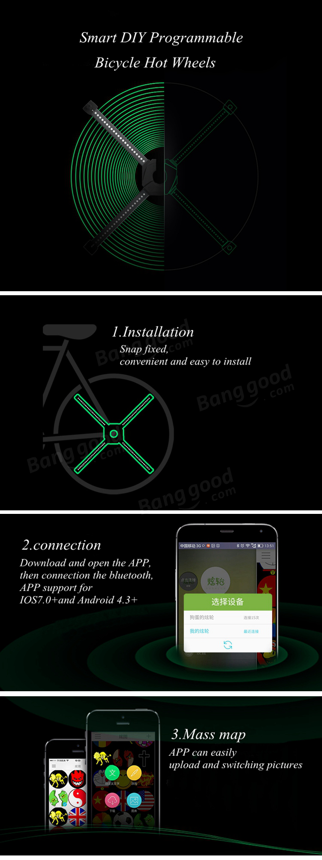 CYCPLUS X1 Smart Bluetooth APP Programmable Bike Spoke Light Cadence Sensor  Wheel Light For IOS Android