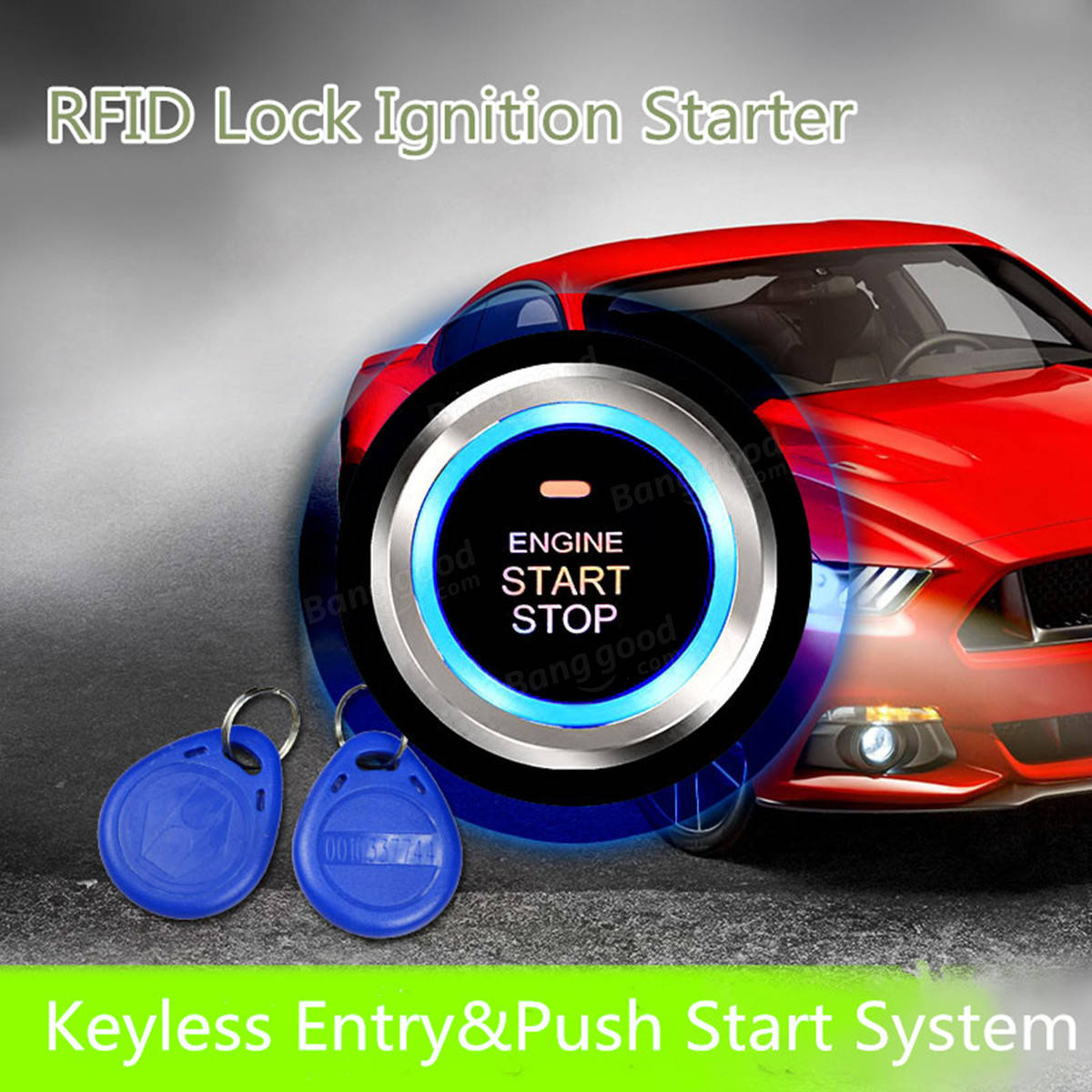 Keyless Entry Car Rfid Engine Push Stop Start Button Lock Alarm Mobil Ignitaion With Remote System Black 12v Control Ignition Starter Kit