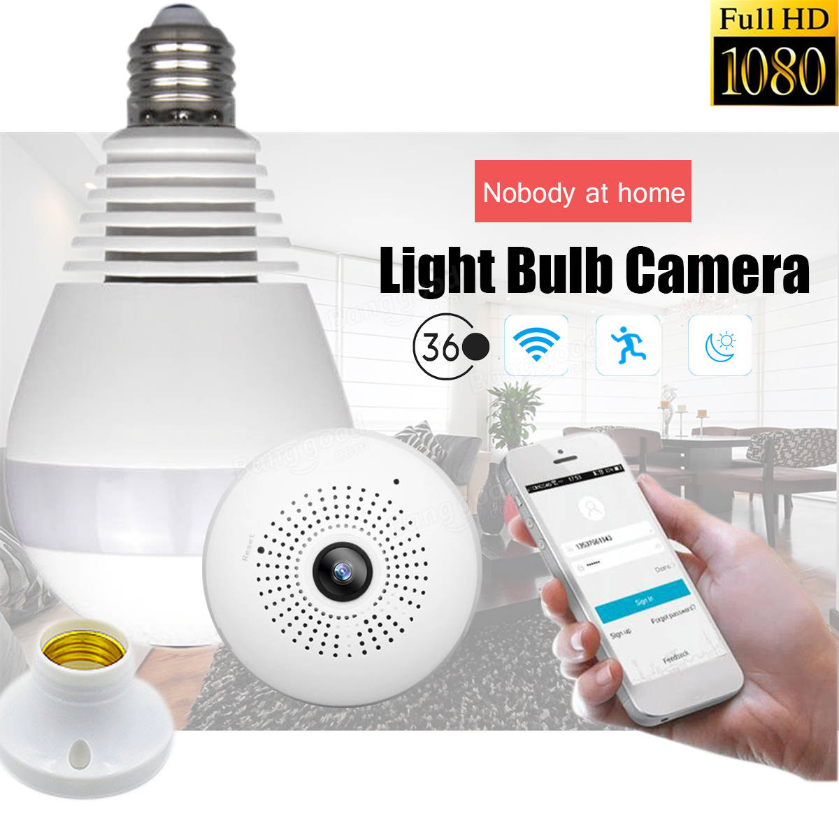 E27 360° Panoramic 1080P IR Camera Light Bulb Wifi Fisheye ...