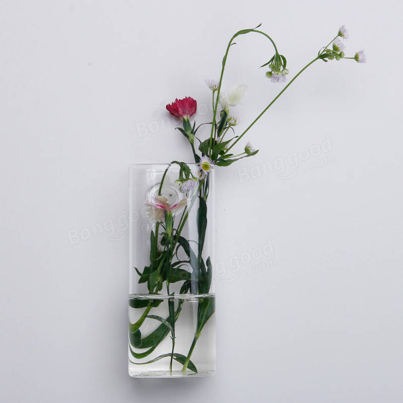 Long Tube Wall Mounted Glass Vase