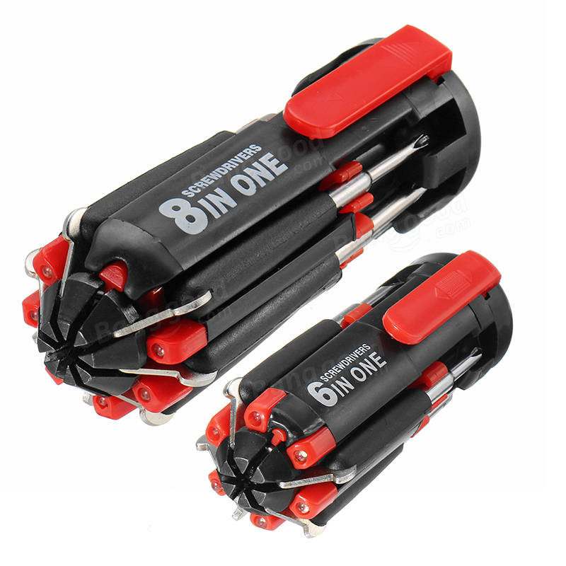 Raitool™ 6/8 In 1 Multi-function Screwdriver Torch Combination LED Light Screwdriver Tools