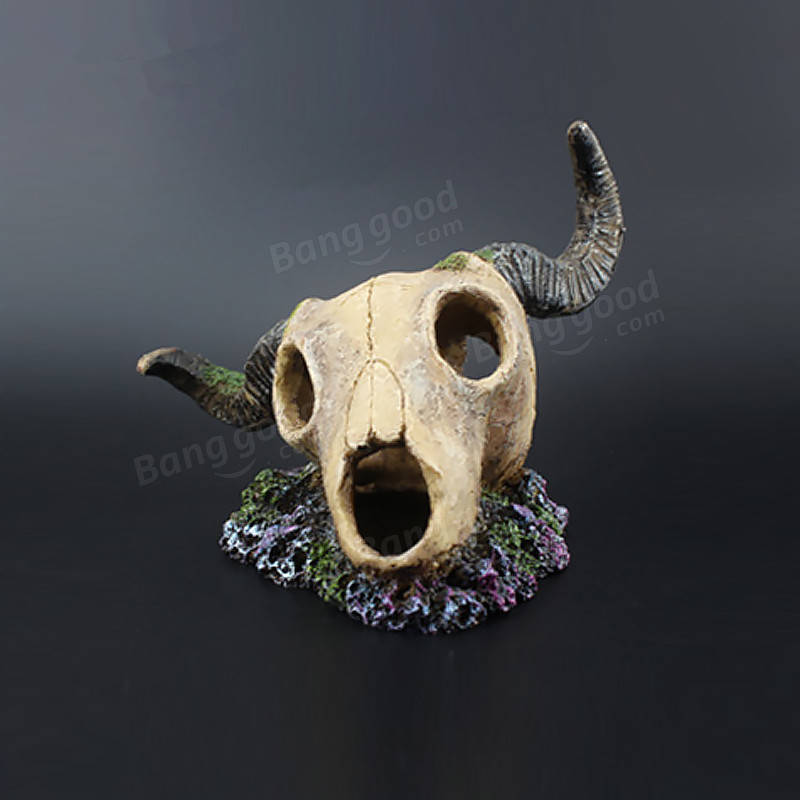 Yani Aquarium Fish Tank Decoration Ornament Resin Emulational Skelecton Head Bone Skull