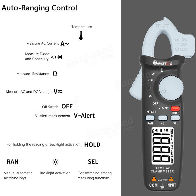 MUSTOOL MT666 TRMS Digital Multimeter Clamp Meter AC Current AC/DC Voltage  Resistance Temperature Diode Tester Buzzer V~Alert Measurent