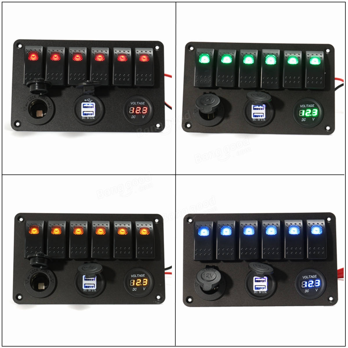 Rocker Switches For Boats Usb Boat Marine Led Switch Panel Circuit Breaker 4 Ebay Gang Volt Meterr Dual Power Charger 1200x1200