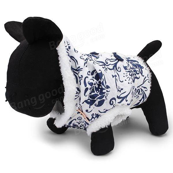 Traditional Blue and White Porcelain Classical Stylish Pet Winter Coat