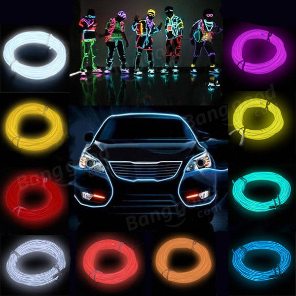 2M Neon Light Glow EL Wire Car Rope Strip + Car Charger Driver ...